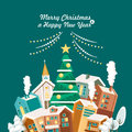 Merry Christmas and a Happy New Year vector greeting card in modern flat design. Christmas town. Green background