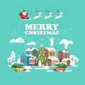 Merry Christmas and a Happy New Year vector greeting card in modern flat design. Christmas town. Santa Claus