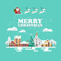 Merry Christmas and a Happy New Year vector greeting card in modern flat design. Snowy landscape with Santa Claus and reindeers Royalty Free Stock Photo