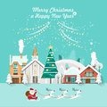 Merry Christmas and a Happy New Year vector greeting card in modern flat design. Snowy landscape with Santa and reindeers