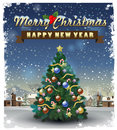 Merry christmas and happy new year vector illustration Stock Image