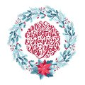 Merry Christmas and Happy New Year vector scandinavian calligraphic vintage text. Winter Wreath with xmas phrase Royalty Free Stock Photo