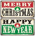 Merry Christmas and Happy New Year Vintage Signs Set Royalty Free Stock Photo