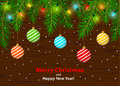 Merry Christmas and Happy New Year winter card background template with xmas tree branches and festive led glowing bulbs Royalty Free Stock Photo