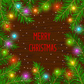 Merry Christmas and Happy New Year 2017 winter card background template with xmas tree branches and festive led lights Royalty Free Stock Photo