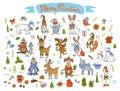 Merry christmas happy new year winter cartoon cute funny animals