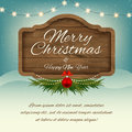 Merry Christmas and Happy New Year. Wooden sign board. Vector gr Royalty Free Stock Photo