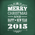Merry christmas and happy new year 2015 write on chlakboard Royalty Free Stock Photo