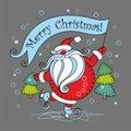 Merry Christmas. Holiday card. Santa Claus on skates.Vector illustration