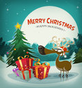 Merry christmas holidays background illustration of a funny reindeer with santa claus hat next to fir and gift pack on winters eve Stock Photography
