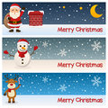 Merry christmas horizontal banners a collection of three wishing a with santa claus near a chimney a snowman and a funny reindeer Stock Image