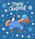 Merry Christmas Horse and Bird Vector Illustration Royalty Free Stock Photo
