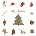 Merry christmas icon set of icons tree bell deer snowflake etc Royalty Free Stock Photo