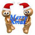 Merry christmas icons with santa hat Stock Images