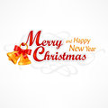 Merry christmas inscription with bells hand lettering vector illustration Stock Photos