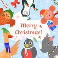Merry Christmas invitation vector illustration, cartoon flat cute animals greeting, celebrating Happy Christmas party Royalty Free Stock Photo