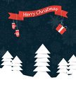 Merry christmas landscape with ribbon and mittes hanging on it forest red rnit Royalty Free Stock Images