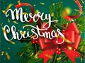 Merry Christmas lettering greeting card for holiday. Gold Shining. Decoration ornament with with snowflake pattern. Golden confett