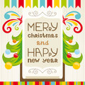 Merry christmas lettering greeting card vector illustration Stock Photos