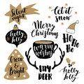 Merry Christmas lettering set. Hand lettered quotes for greeting cards, gift tags. Typography collection. Vector.