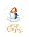 Merry Christmas lettering with watercolour fun pinguin. New year card.