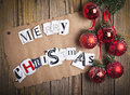 Merry christmas letters made from newspaper Stock Photography