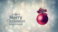 Merry Christmas message with a hanging bauble Royalty Free Stock Photo
