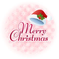 Merry christmas message illustration with santa hat on snowflake pattern file contains transparency gradients clipping mask Royalty Free Stock Photo