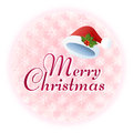 Merry christmas message illustration with santa hat on snowflake pattern file contains transparency gradients clipping mask Royalty Free Stock Photos