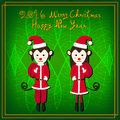 Merry Christmas Monkey Santa Green Background Royalty Free Stock Photo