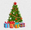 Christmas tree with beautiful balls, decorations. Gifts under christmas tree.