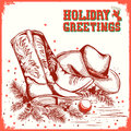 Merry christmas and New Year card with cowboy boot and western h Royalty Free Stock Photo