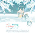 Merry christmas new year celebration background with lantern baubles xmas decorations fir tree branches snowdrifts Stock Image
