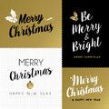 Merry christmas and new year gold lettering set