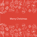 Merry christmas new year illustration of items set on red background Stock Photos