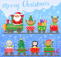 Merry Christmas and New year. Santa Claus on train with gifts.