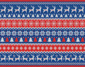Merry Christmas and New Year seamless knitted pattern with Christmas balls, snowflakes and fir. Scandinavian style