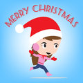 Merry christmas new year with smiling girl in winter holiday theme blue background Royalty Free Stock Image