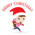 Merry christmas new year with smiling girl in winter holiday theme white background Royalty Free Stock Photos