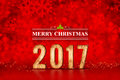 Merry Christmas 2017 number at red sparkling bokeh lights,leave Royalty Free Stock Photo
