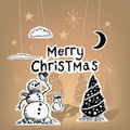 Merry christmas paper vector with snowmen and tree s Royalty Free Stock Photo
