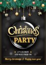 Merry christmas party and glass ball on dark background invitation theme concept. Happy holiday greeting banner and card design t Royalty Free Stock Photo