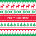 Merry christmas pattern with deer scandynavian sweater style winter red and green vector background nordic kntting Royalty Free Stock Image