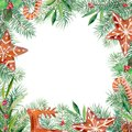 Merry Christmas pattern, gingerbread, firtree, olive, holly border. Watercolor handdrawn illustration frame.