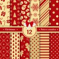Merry Christmas pattern seamless collection. Set of 12 X-mas
