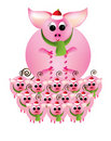 Merry Christmas from pink piggies on a white backg Royalty Free Stock Photography