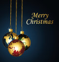 Merry christmas with planets christmas balls card Royalty Free Stock Photo