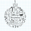 Merry Christmas post card template. Vector illustration. Royalty Free Stock Photo