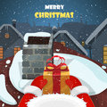 Merry Christmas postcard vector illustration. Royalty Free Stock Photo