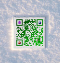 Merry Christmas QR Code set in snow Stock Photos